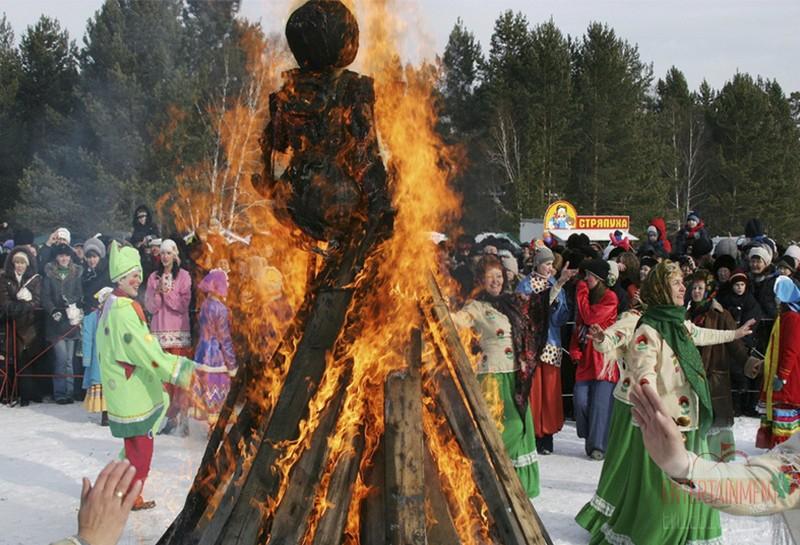 Огненное шоу и сжигание чучела